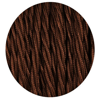Dark Brown 3 Core Twisted Electric Cable Covered  Color Fabric 0.75mm • 3.49£