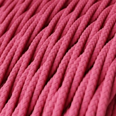 Rose Pink Color 3 Core Twisted Electric Cable Covered  Fabric 0.75mm • 3.49£