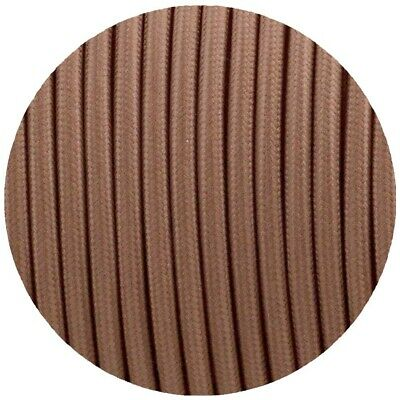 0.75mm 2 Core Round Vintage Braided Light Brown Fabric Covered Light Flex • 3.19£