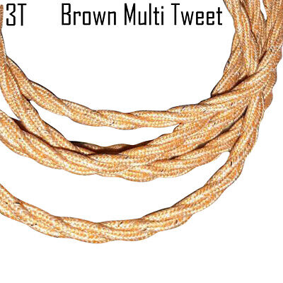 3 Core Twisted Brown Multi Tweed Vintage Electric Fabric Cable Flex 0.75mm • 3.49£