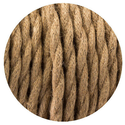 2 Core Twisted Electric Cable Hemp Color Fabric 0.75mm • 3.19£