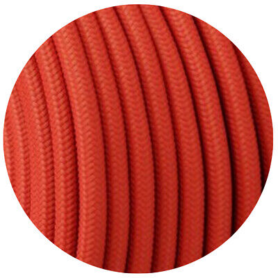 3 Core Round Vintage Braided Fabric Peach Coloured Cable Flex 0.75mm • 3.49£