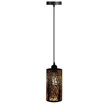 Easy Fit Pendant Light Metal Drum Black Colour Table Lamp/Ceiling Pattern Shade • 17.49£