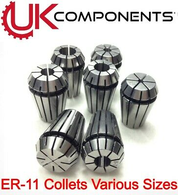 ER11 Carbon Steel Spring Collet - CNC Machine Drill Milling - Clamp - 1mm To 7mm • 3.50£