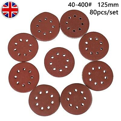 80pc 125mm Wet And Dry Sanding Discs  8-hole 5 Inch Sandpaper 40~400 Grit Pads • 9.49£