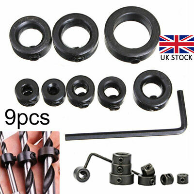 8x Depth Stop Ring Drill Bits Positioner Collars Locator Tool 3-16mm + Wrench • 5.35£