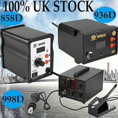 SMD Hot Air Gun Soldering Work Station 936 858D 998D UK Plug 220V  Quality AA • 50.14£