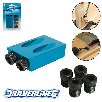 SILVERLINE 868549 ALUMINIUM POCKET HOLE JIG 6, 8 & 10mm GUIDES SCREW JOINT TOOL • 6.99£
