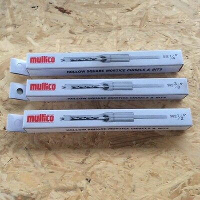 Multico White Box 1/4 +3/8 +1/2  Morticer Chisels & Bits  3/4  Shank • 75£