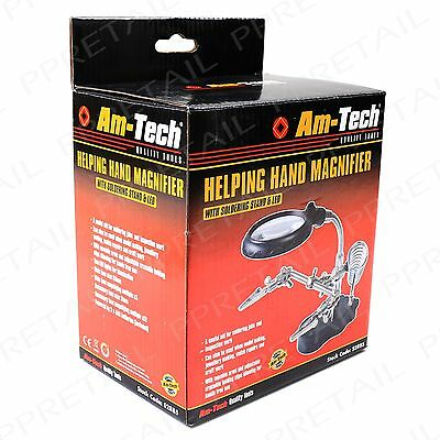 Magnifying Soldering Stand +WITH CLAMPS+ Glass Third Craft Weld Holder Jewellery • 12.17£