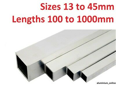 ALUMINIUM SQUARE BOX SECTION TUBE 13mm, 16mm, 19mm, 25mm, 29mm, 32mm, 38mm, 45mm • 13.63£