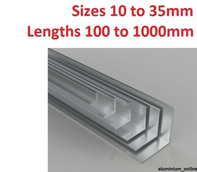 ALUMINIUM EQUAL ANGLE 10mm 13mm 16mm 19mm 22mm 25mm 29mm 32mm 35mm Select Size • 9.54£