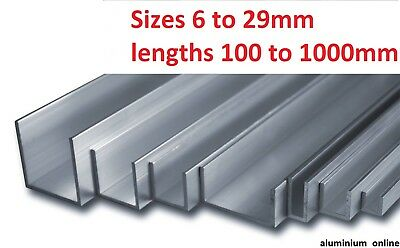 ALUMINIUM CHANNEL U  PROFILE 6mm 10mm 13mm 16mm 19mm 22mm 25mm 29mm Select Size • 7.48£
