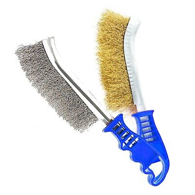 2x STEEL & BRASS WIRE BRUSHES Rust Paint Ingrained Dirt Removal Metal Prep Clean • 5.21£