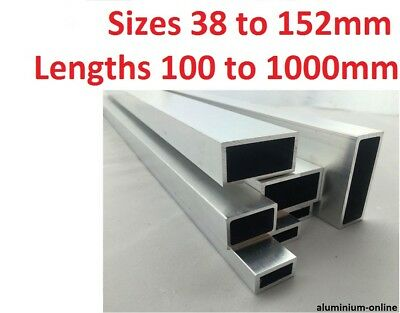 ALUMINIUM RECTANGULAR BOX SECTION 38mm 50mm 63mm 76mm 101mm 127mm 152mm • 21.89£