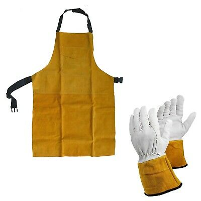 Premium Leather Welders PPE Apron And Hotwork Welding Gauntlet Glove Pack • 22.90£