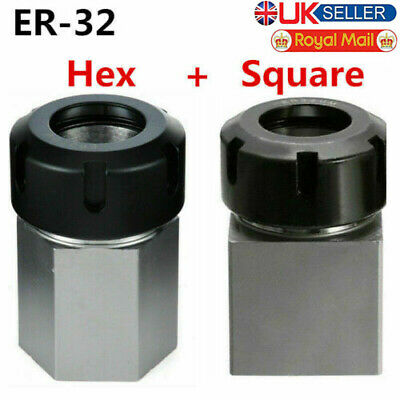 ER-32 Hex+Square Collet Chuck Block Holder For CNC Lathe Engraving Machine M#U • 35.94£