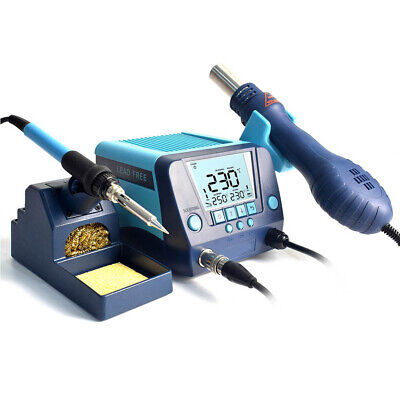 2 In 1 Digital Soldering Station Iron Hot Air Gun Tip Desoldering Rework Station • 99.99£