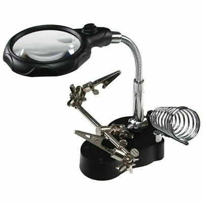 LED Light Desk Lamp Magnifier Desktop Magnifying Glass Adjustable Support Clamp • 10.99£