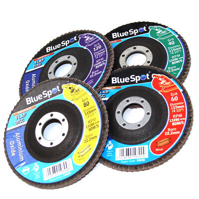 ANGLE GRINDER FLAP DISC SETS GRIT 40 60 80 120 - 115mm (4.5 ) ONE OF EACH DISC • 34.99£