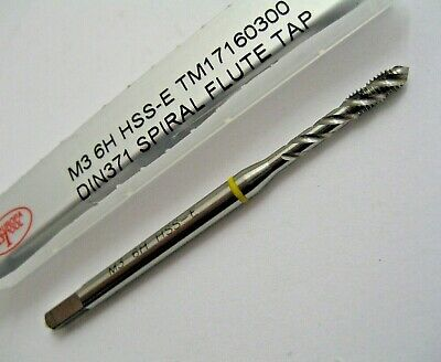 M3 X 0.5 SPIRAL FLUTE TAP YELLOW RING HSS-E 6H DIN371 TM17160300 EUROPA TOOL • 6.77£