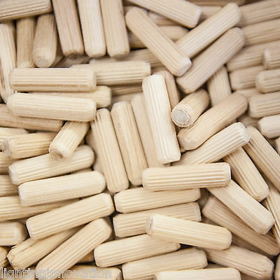 8mm X 30mm HARDWOOD WOODEN DOWELS CHAMFERED FLUTED PIN WOOD BEECH DOWEL GROOVED • 16.99£
