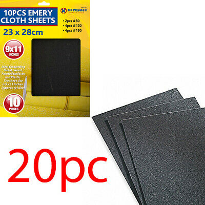 New 20pc Emery Cloth Sheets Sandpaper Grit Sanding Metal Wood Surfaces  • 4.99£