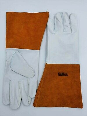 Goat Leather Welding Gloves With Orange Cuff For Multipurpose Unisex • 4.99£