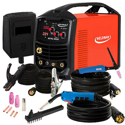 3 In 1 Welder Welding Machine MIG TIG MMA Gasless Flux 200 AMP Portable Inverter • 395£