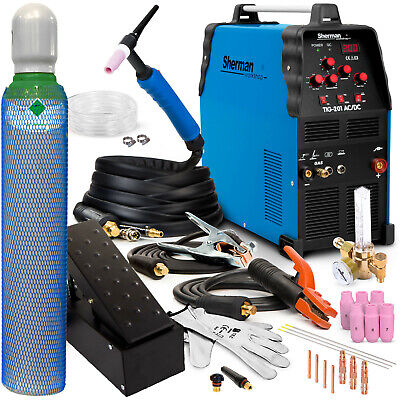 TIG Welder 200 AMP ACDC Aluminium Welding Machine SHERMAN TIG 201 Foot Pedal SET • 609£