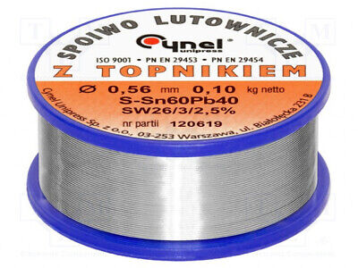 LC60-0.56/0.1  Soldering Wire; Sn60Pb40; 0.56mm; 0.1kg; Lead-based  'UK COMPANY • 11.99£