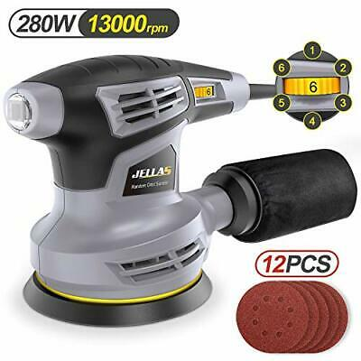 Jellas Orbital Sander,280W 125MM,6 Variable Speed, Dust Collector, Rotating Base • 53.99£