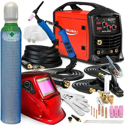 3 In 1 Welder IGBT Welding Machine MIG TIG MMA Gasless Flux 200 A Portable SET • 595£