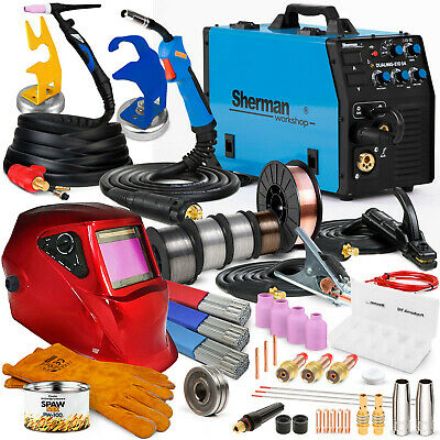 3 In 1 MIG Welder Welding Machine Inverter Pro 200A SHERMAN DUAL 210 S4 TIG SET • 521£