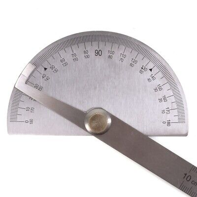 ANGLE PROTRACTOR RULER 2 In 1 180 Degree Round Head Rotary 100mm Rule Finder UK • 5.95£