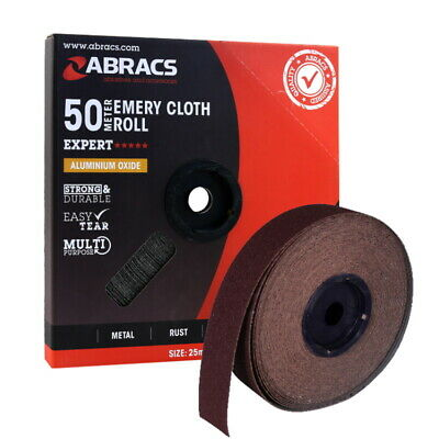 50mm Emery Cloth Roll Brown (Engineers Quality)  80, 120 Grit - Cut To Size • 46.69£