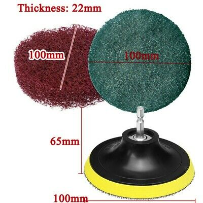 6pcs Scouring Pad +Polished Plate & Mandrel 1/4 Hex Shank For Cleaning Surfaces • 8.64£