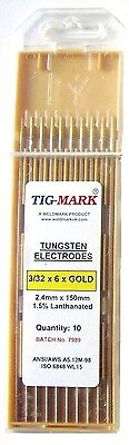 Pk 10 1.0mm X 150mm GOLD TIPPED TUNGSTEN ELECTRODES • 7.50£