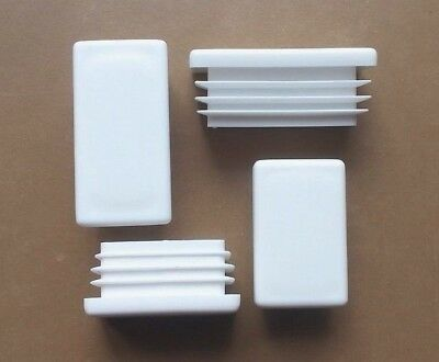 Rectangular Plastic End Caps Inserts Plug/ Steel AlluminiumTube/ White • 6.70£