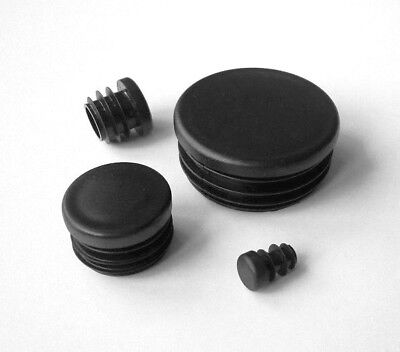 Round Plastic Blanking End Caps Tube Pipe Inserts Plugs Bungs / Black • 13.40£