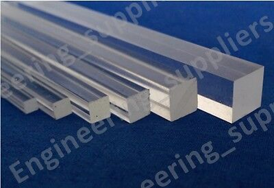 Acrylic Square Rod Bar Clear Solid 3, 4, 5, 6, 8, 10 & 12mm, 100 To 600mm Long • 21.50£