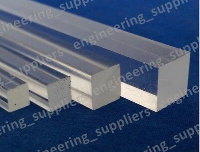 Square Plastic Rod Bar Clear Acrylic 3, 4, 5, 6, 8 & 10mm, Various Length  • 19.49£