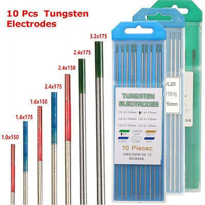 10Pcs WL20/WT20/WP TIG Tungsten Electrode Assorted Welding Electrodes 1.0-3.2mm • 9.23£