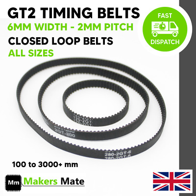 GT2 Timing Belt 2mm Pitch 6mm Width Closed Loop Belts For Pulley CNC 3D Printer • 2.74£