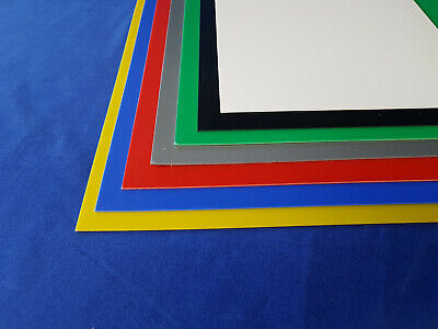 1mm HIPS Plastic Sheet Blue, Red, Yellow, Green, Grey, Black & White A5, A4 & A3 • 18.99£
