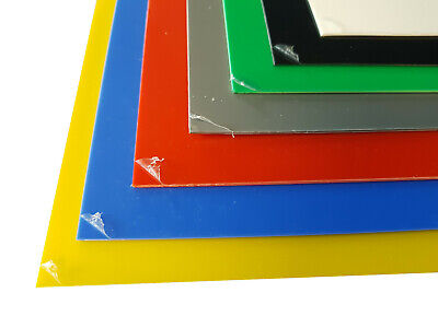 1.5mm HIPS Plastic Sheet Blue Red Yellow Green Grey Black & White A5, A4 & A3 • 39.99£