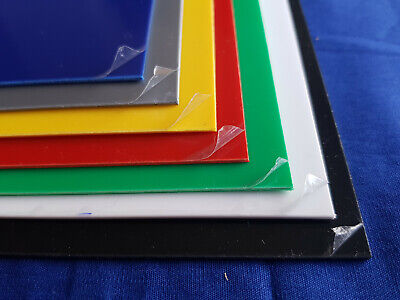 Plastic Sheet 1mm HIPS Navy Blue Red Yellow Green Grey Black & White A5 A4 A3 • 35.99£