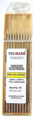 Pk 10 2.4mm X 150mm GOLD TIPPED TUNGSTEN ELECTRODES • 15£