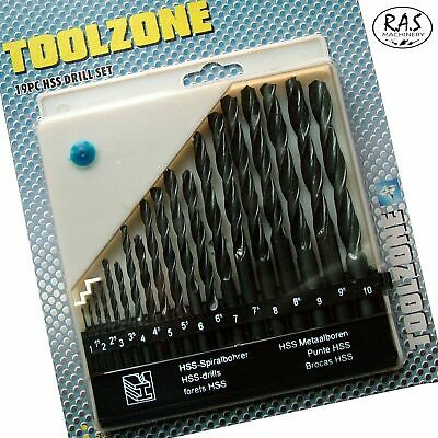 19 Piece HSS Drill Set 1mm To 10mm In Storage Case Toolzone DR085 • 6.99£