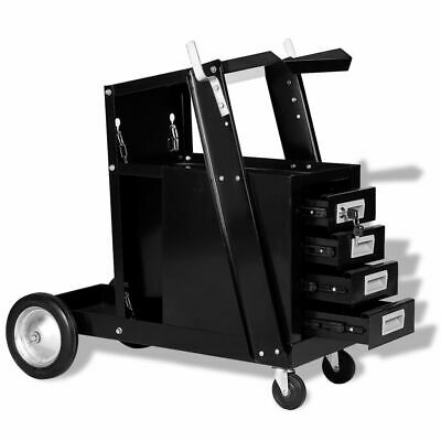 Welding Cart With 4 Drawers Black Trolley Workshop Utility Storage Steel Cutter  • 82.69£